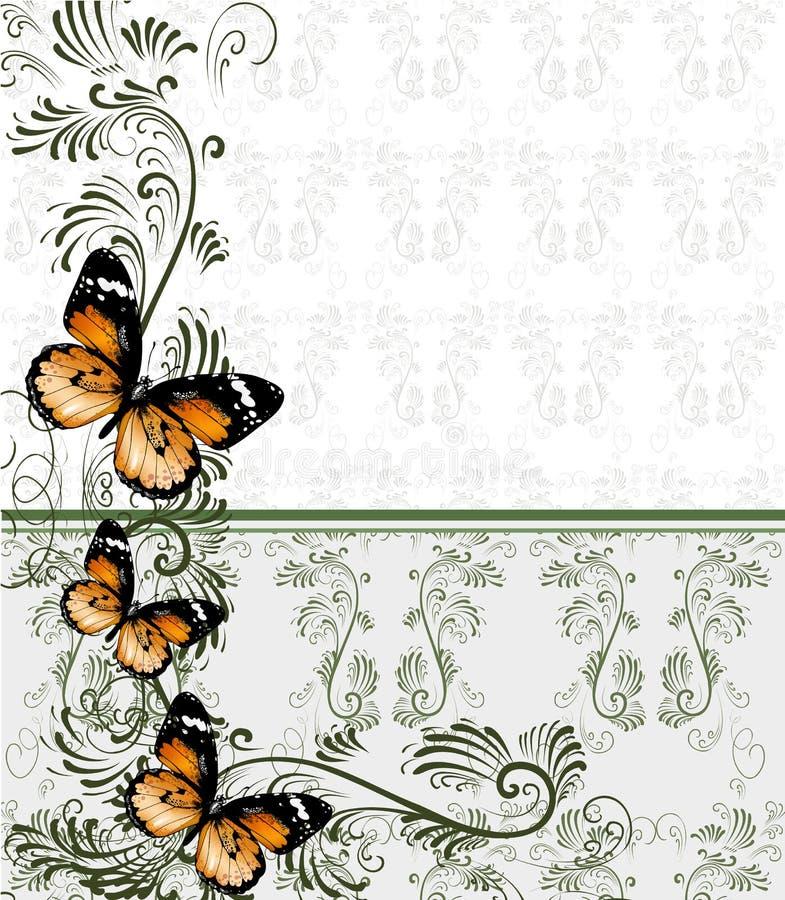 Fondo floral con el ornamento y las mariposas del papel pintado stock de ilustración