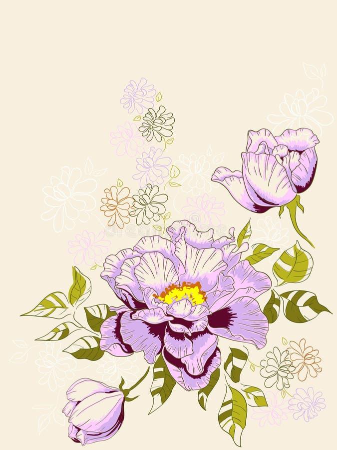Fondo floral con el peony ilustración del vector