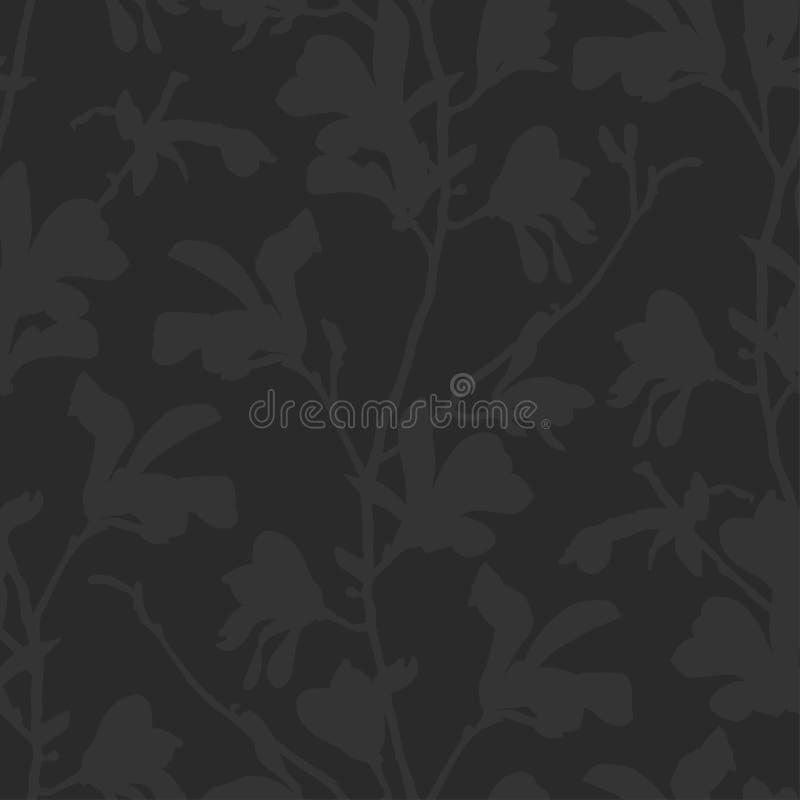 Fondo floral con la flor de la rama y de la magnolia en negro Modelo incons?til con el flor del ?rbol de la magnolia Dise?o oscur stock de ilustración