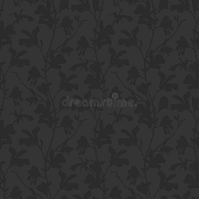 Fondo floral con la flor de la rama y de la magnolia en negro Modelo incons?til con el flor del ?rbol de la magnolia Dise?o oscur libre illustration