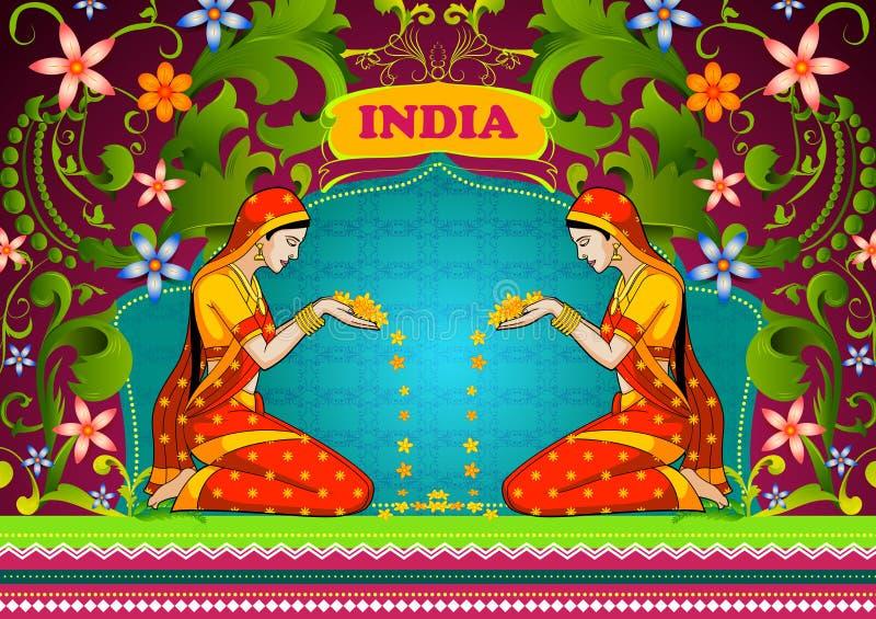 Fondo floral con la flor que da la bienvenida de la mujer india que muestra la India increíble libre illustration