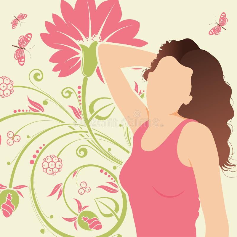 Fondo floral con la muchacha stock de ilustración