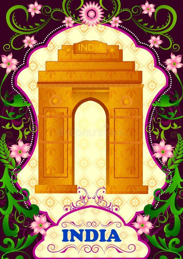 Fondo floral con la puerta de la India stock de ilustración