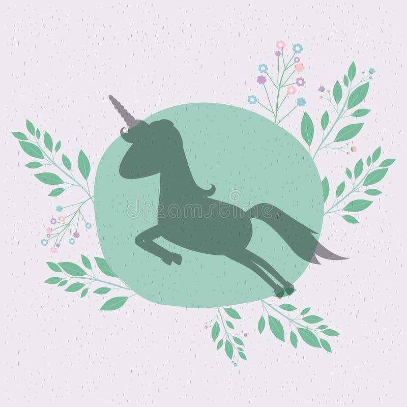 Fondo floral con la silueta del salto del unicornio stock de ilustración