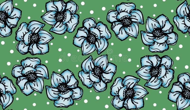 Fondo floral con las flores azules claras del lirio en fondo verde libre illustration