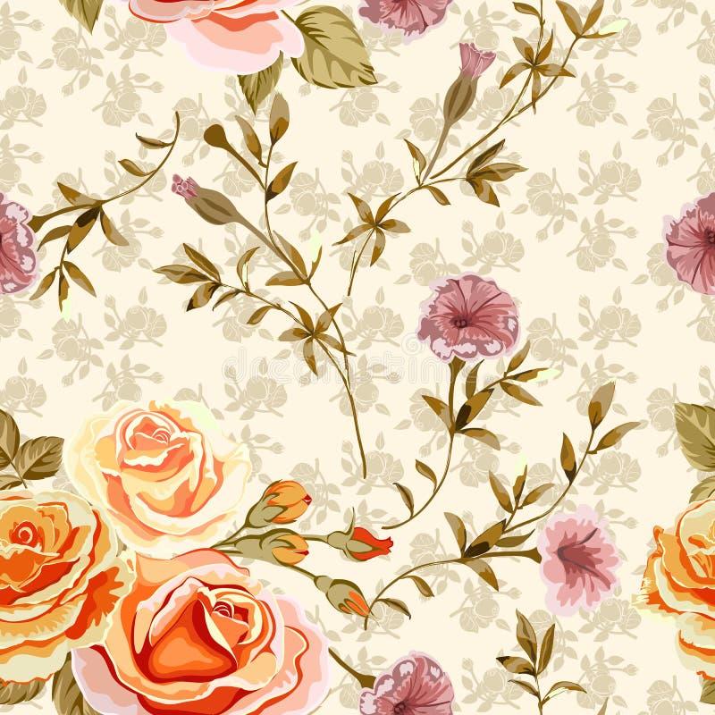 Fondo floral con las flores de las rosas y las ramitas amarillas, anaranjadas con las hojas stock de ilustración
