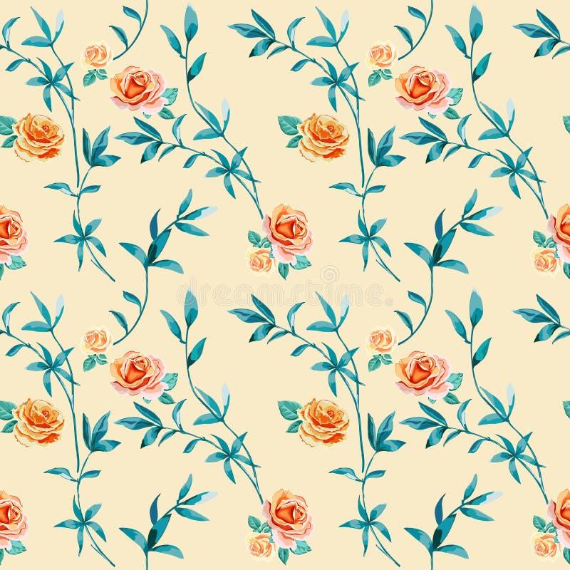 Fondo floral con las flores de las rosas y las ramitas amarillas, anaranjadas con las hojas libre illustration