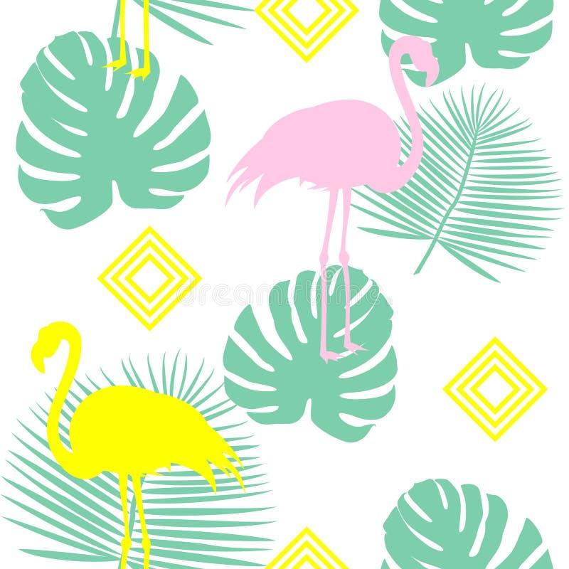 Fondo floral con las hojas de palma tropicales, flamenco, hibisco del modelo del verano del vector inconsútil hermoso Perfeccione ilustración del vector
