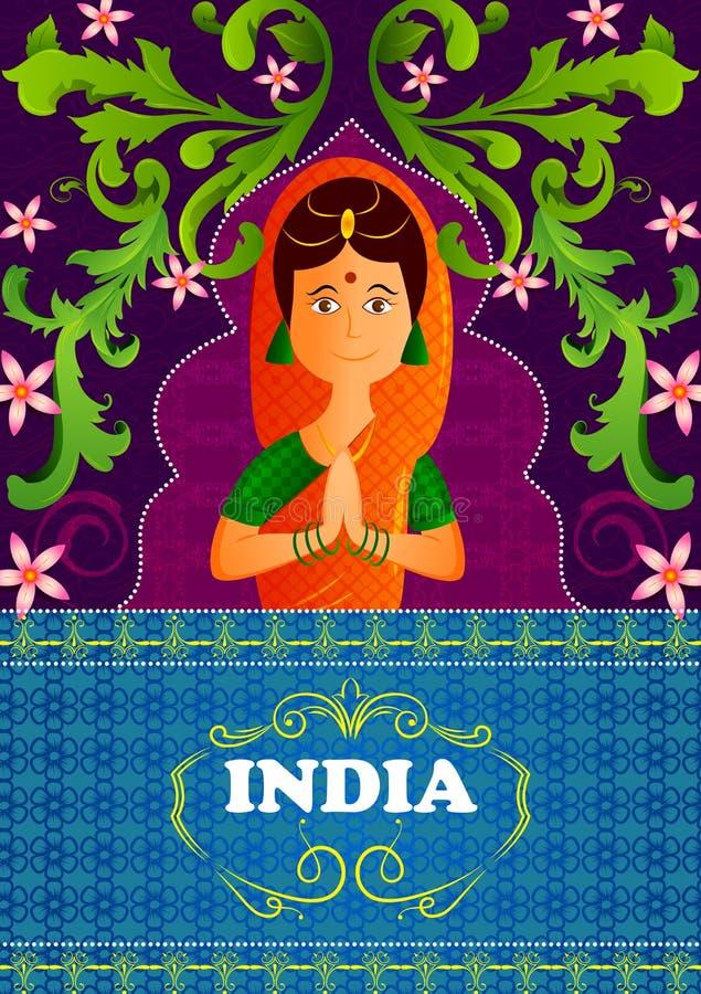 Fondo floral con las manos agradables del gesto de la mujer india que muestran la India increíble ilustración del vector