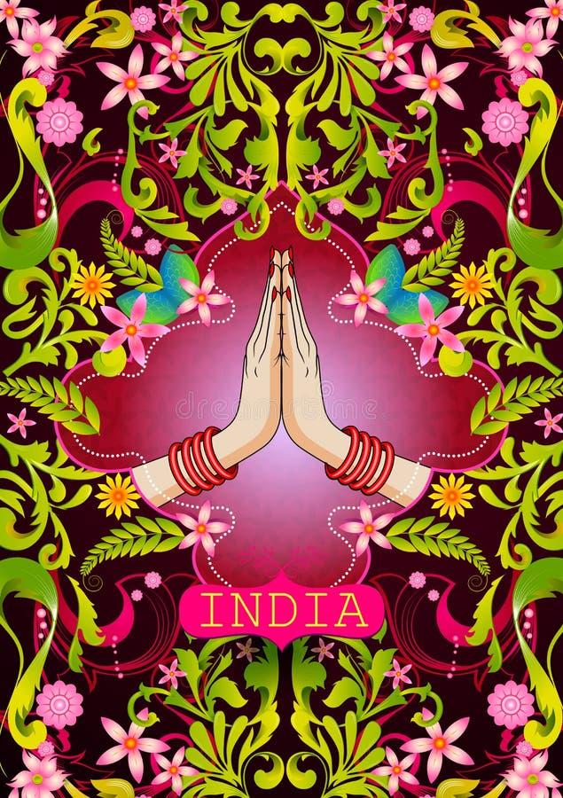 Fondo floral con las manos agradables del gesto de la mujer india que muestran la India increíble stock de ilustración