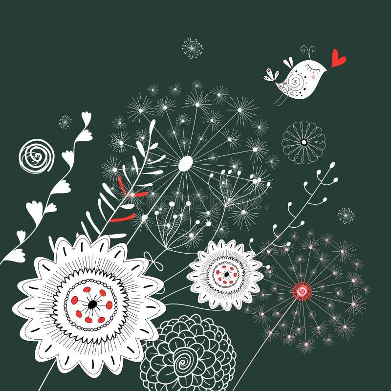 Fondo floral con un pájaro stock de ilustración