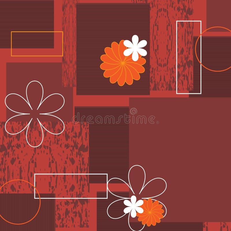 Fondo floral de Grunge con el marco - vector stock de ilustración