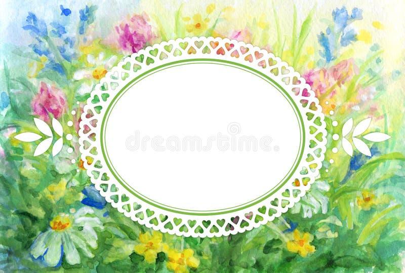 Fondo floral de la acuarela con el marco de la ilustración ilustración del vector