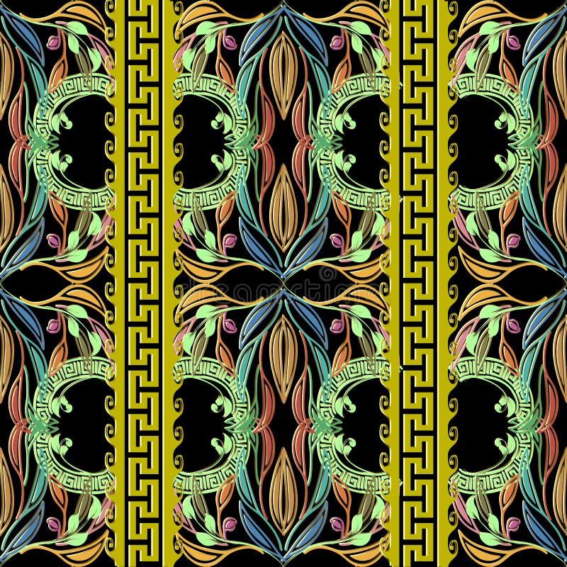 Fondo floral de la elegancia ornamental  Onda stock de ilustración