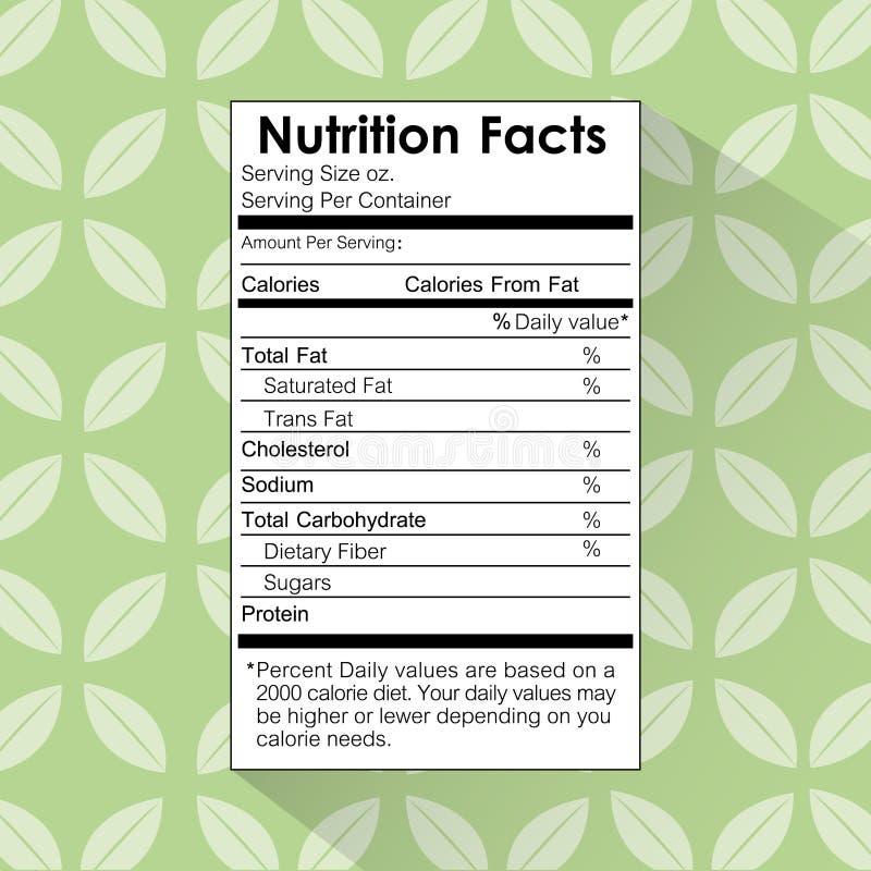 Fondo floral de la etiqueta de la comida de los hechos de la nutrición ilustración del vector