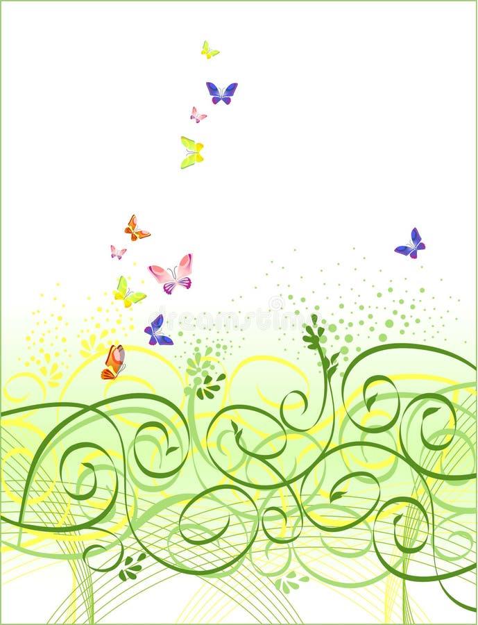Fondo floral de la mariposa stock de ilustración