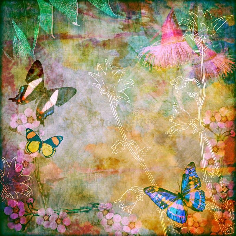 Fondo floral de la mariposa del vintage stock de ilustración