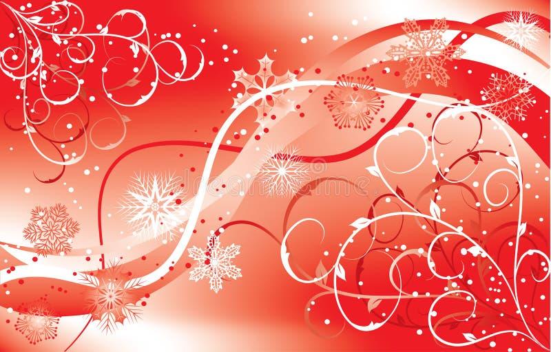 Fondo floral de la Navidad con copos de nieve, vector ilustración del vector