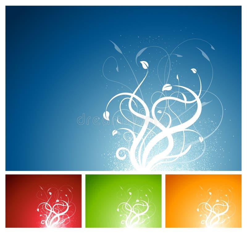 Fondo floral de la planta en 4 colores ilustración del vector
