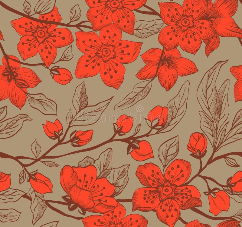Fondo floral de la primavera inconsútil del vintage ilustración del vector