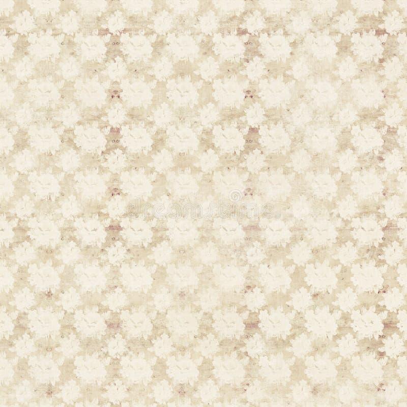 Fondo floral de la repetición de las rosas antiguas beige y poner crema stock de ilustración