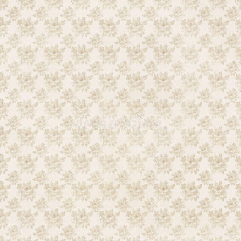 Fondo floral de la repetición de las rosas antiguas beige y poner crema libre illustration