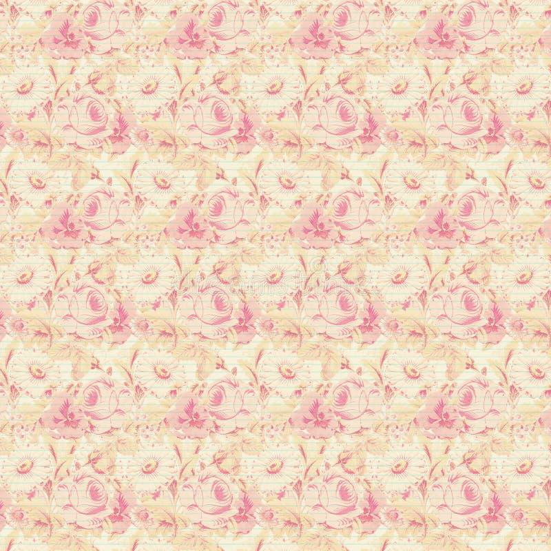 Fondo floral de la repetición de las rosas rosadas y amarillas imagen de archivo
