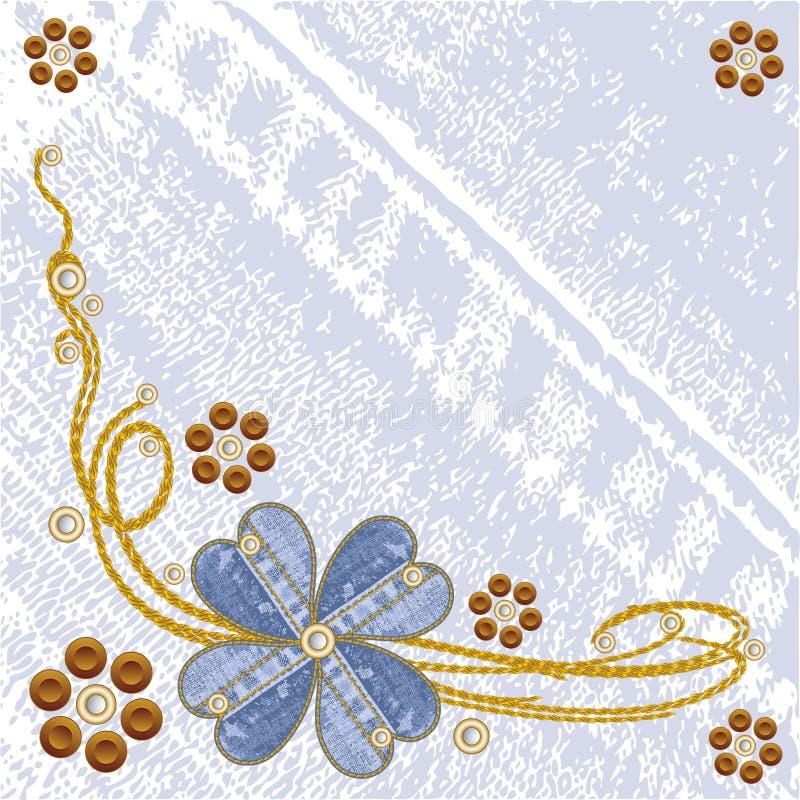 Fondo floral de los pantalones vaqueros del dril de algodón sucio del vector. stock de ilustración