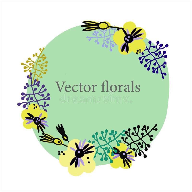 Fondo floral de moda en estilo escandinavo Plantilla exhausta del marco de la mano para las tarjetas de felicitación y otros proy stock de ilustración