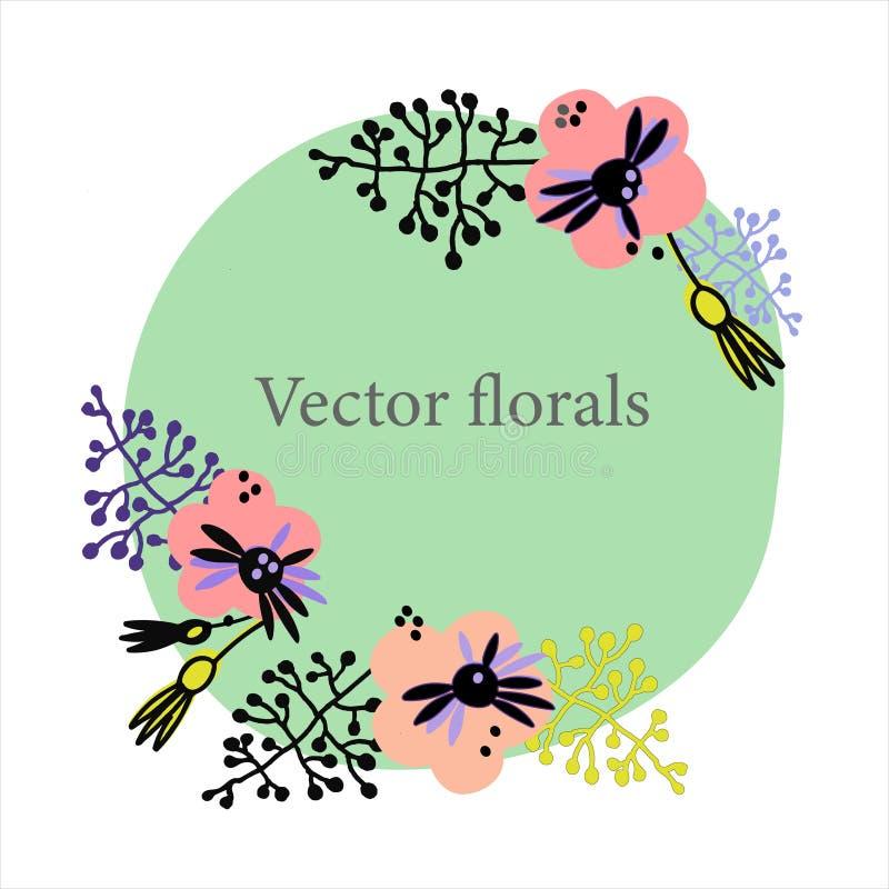 Fondo floral de moda en estilo escandinavo Plantilla exhausta del marco de la mano para las tarjetas de felicitación y otros proy libre illustration