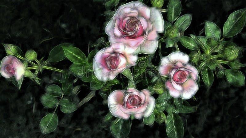 Fondo floral de rosa rosada fractal con foto de archivo