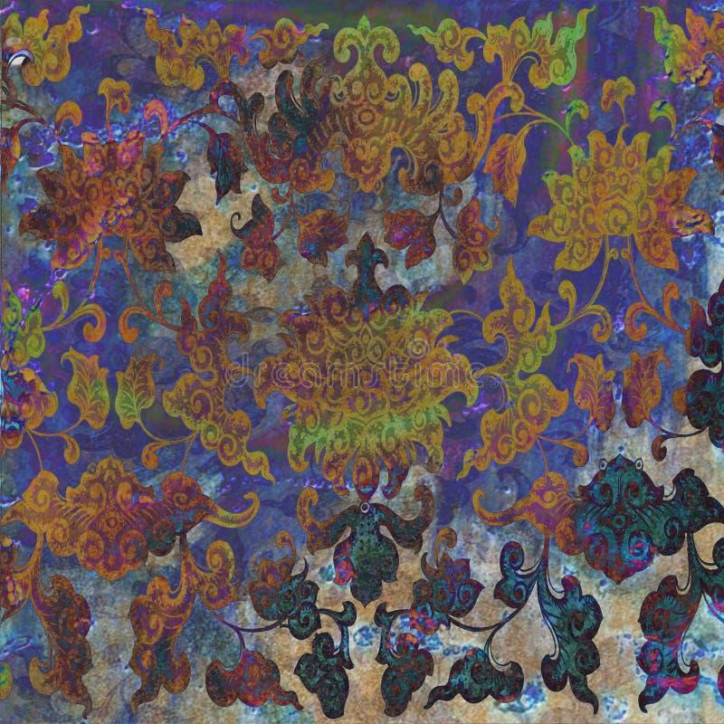 Fondo floral del batik del Grunge foto de archivo libre de regalías