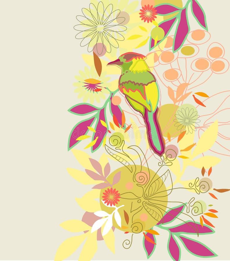 Fondo floral del color con el pájaro stock de ilustración