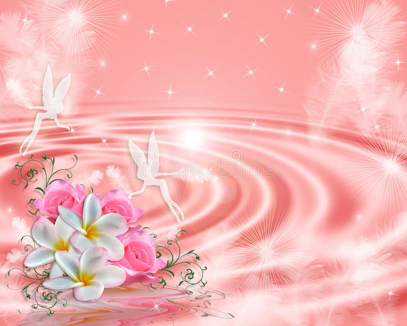 Fondo floral del color de rosa de hadas de la fantasía stock de ilustración
