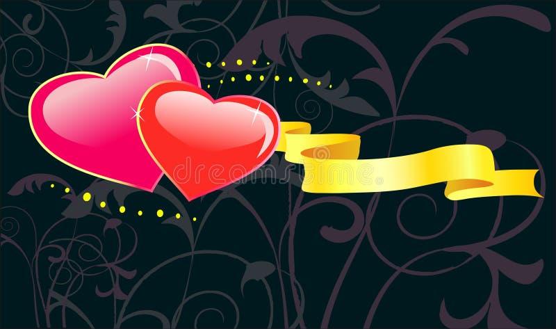 Fondo floral del día de tarjetas del día de San Valentín con el corazón. stock de ilustración