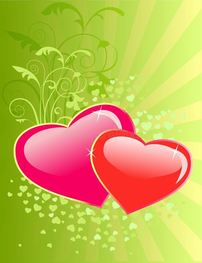 Fondo floral del día de tarjetas del día de San Valentín con el corazón. ilustración del vector