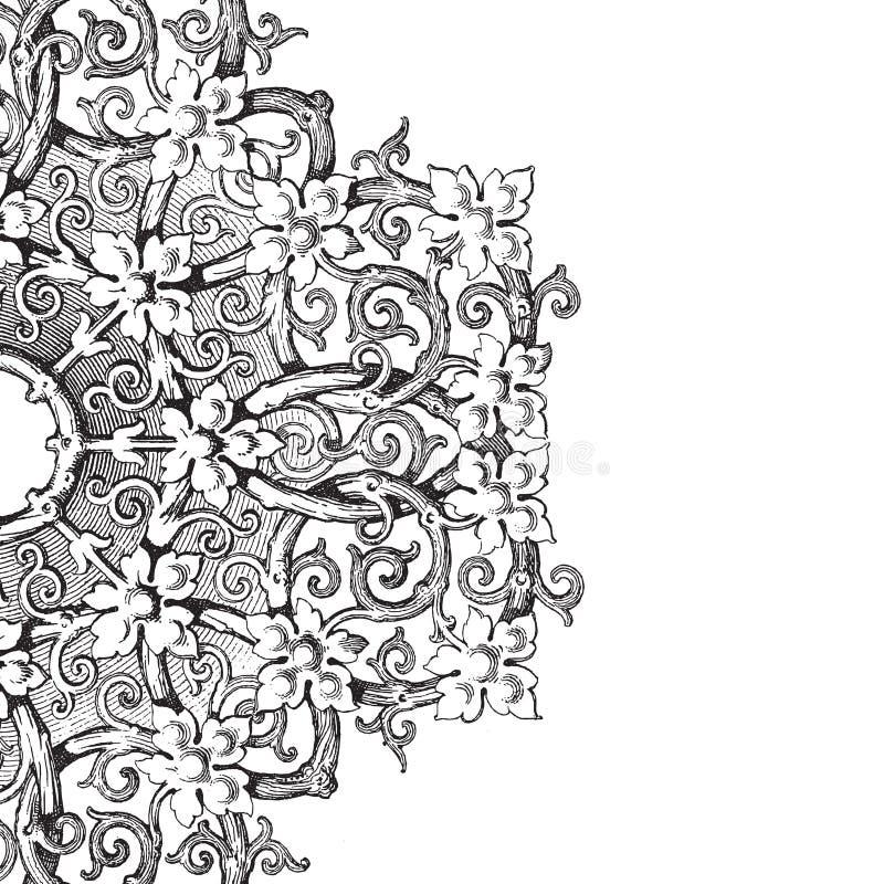 Fondo floral del libro de recuerdos del damasco de la vendimia ilustración del vector