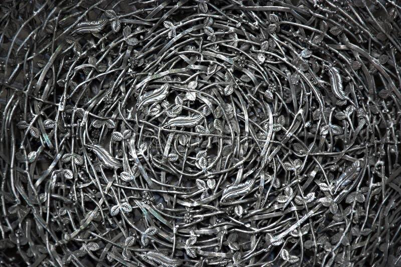 Fondo floral del metal de plata imagen de archivo libre de regalías