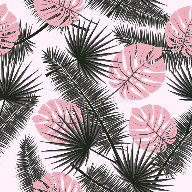 Fondo floral del modelo del verano del vector inconsútil hermoso con las hojas de palma tropicales Perfeccione para los papeles p ilustración del vector