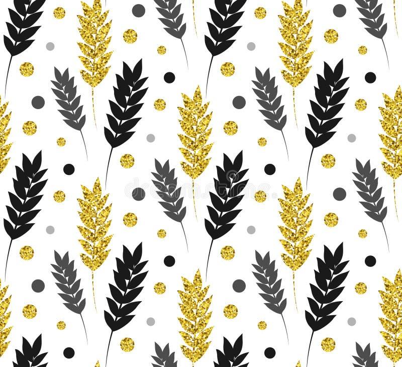 Fondo floral del oro Modelo inconsútil del brillo del vector con el pasto stock de ilustración