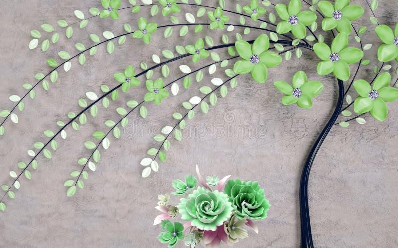 Fondo floral del papel pintado abstracto 3d con las flores verdes ilustración del vector