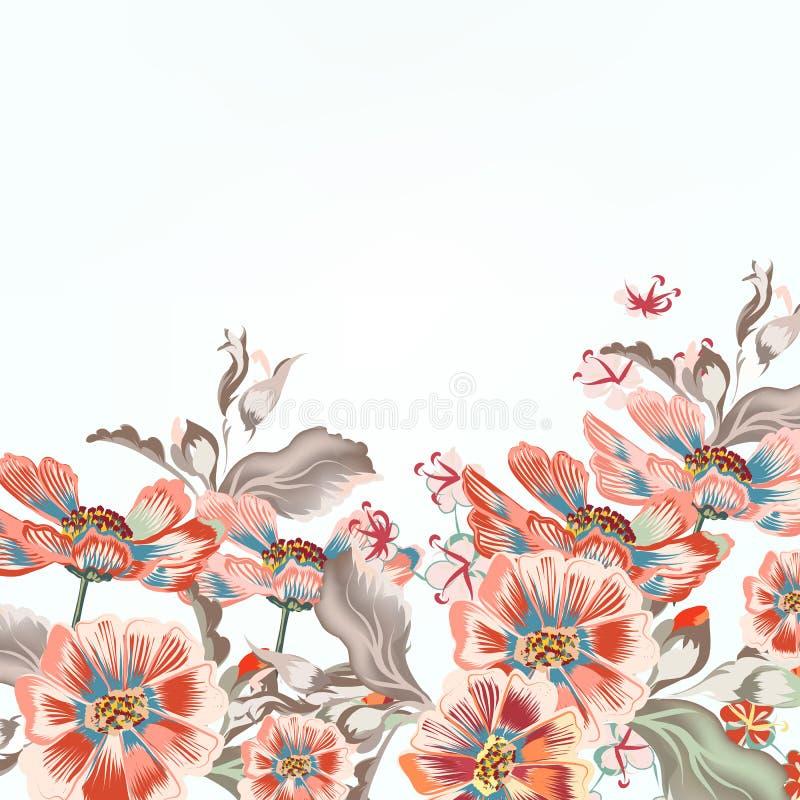 Fondo floral del vector con las flores del cosmos stock de ilustración