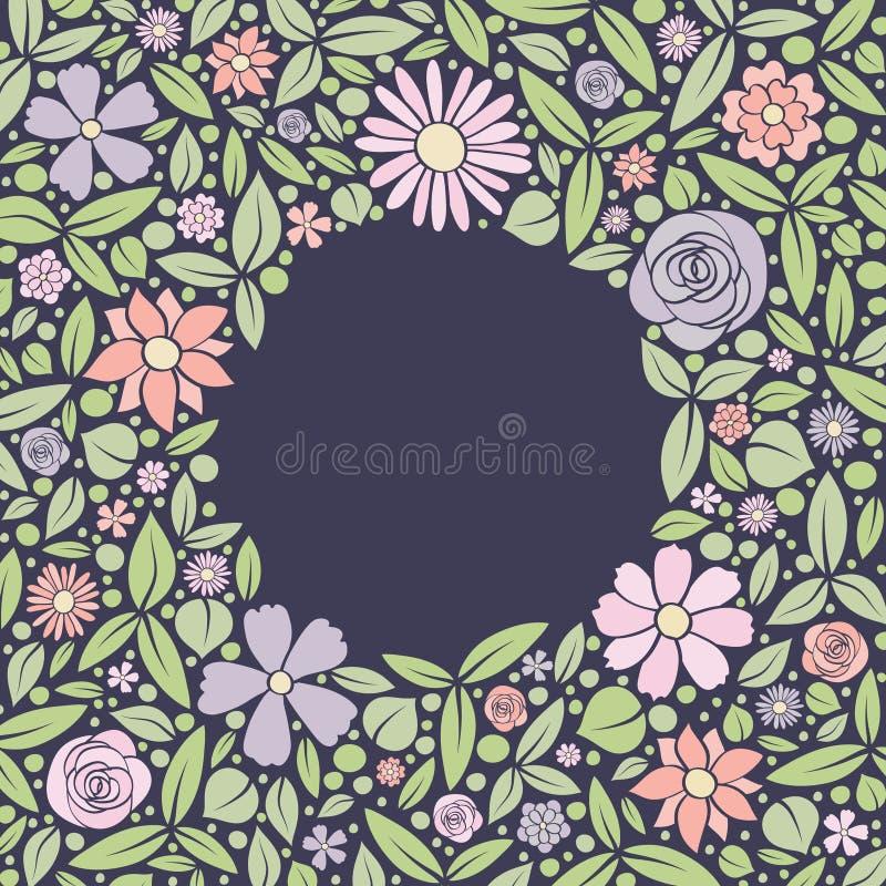 Fondo floral del vintage con las flores dibujadas mano Tarjeta de la primavera, de la boda y de cumpleaños libre illustration