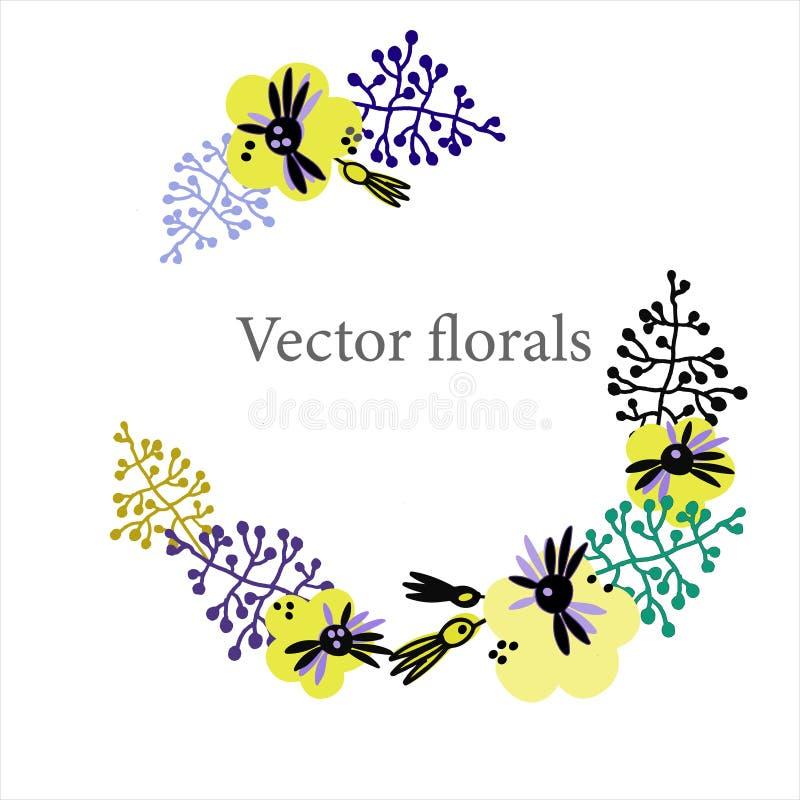 Fondo floral delicado en estilo escandinavo Plantilla exhausta para las tarjetas de felicitación, otros proyectos del marco de la libre illustration
