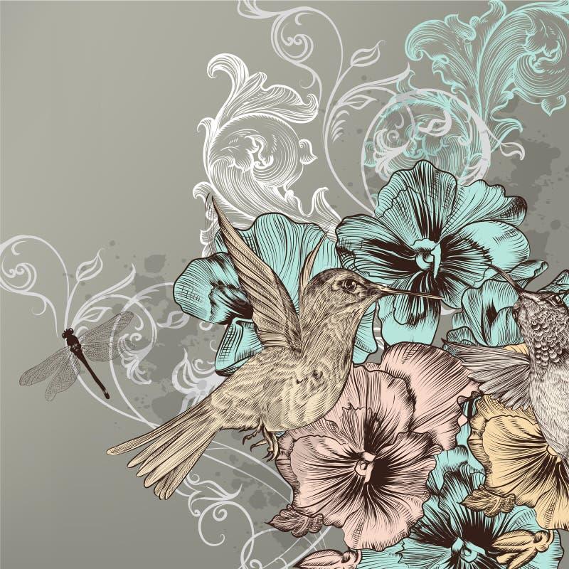 Fondo floral elegante con las flores y los pájaros del tarareo stock de ilustración