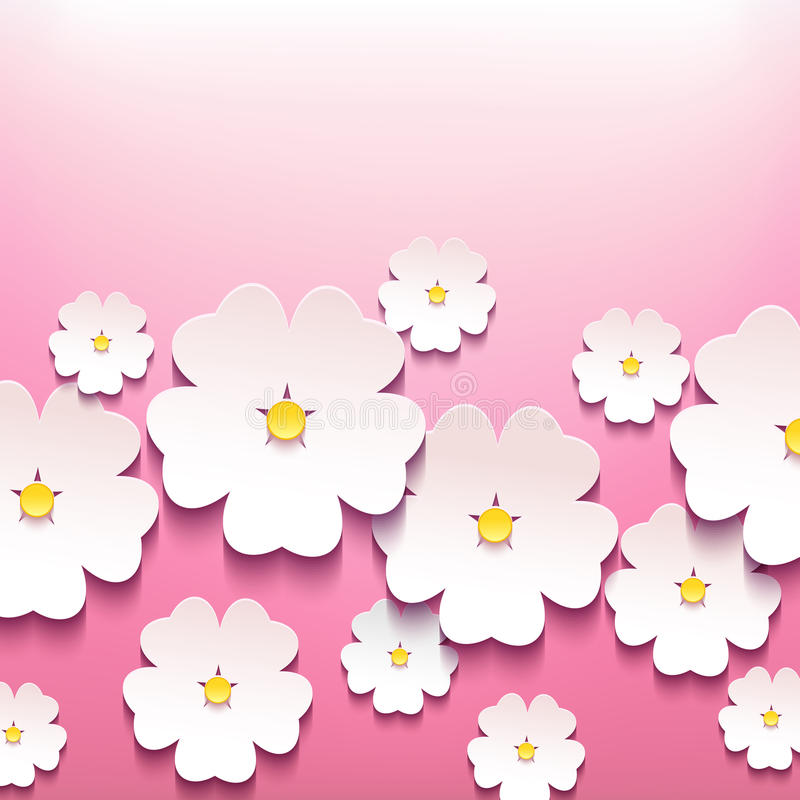 Fondo floral elegante hermoso con la flor 3d stock de ilustración