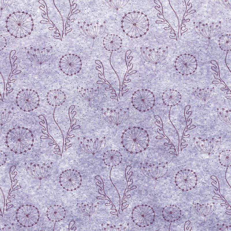 Fondo floral en colores pastel texturizado dibujado mano Plantilla azul con las flores, hojas ilustración del vector
