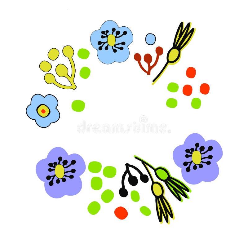 Fondo floral en estilo escandinavo Plantilla exhausta del marco de la mano para las tarjetas de felicitación y otros proyectos de libre illustration