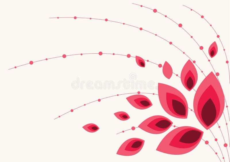Fondo floral hermoso en rojo vibrante ilustración del vector