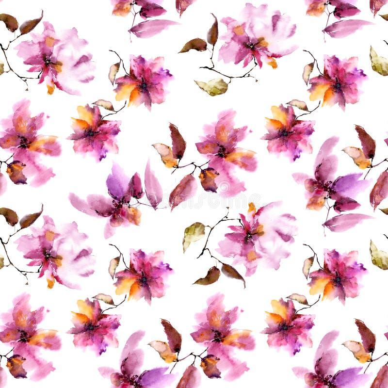 Fondo floral inconsútil Modelo de flores transparente rosado Plantilla del modelo de la materia textil stock de ilustración